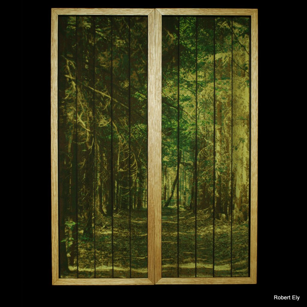 'Into the Woods' Woven silk diptych by Robert Ely, 2 x 232 x 620mm including frames. Edition of 16
