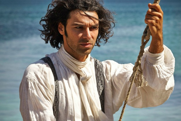 Ross Poldark wearing Papilionaceous silk ribbon braces.