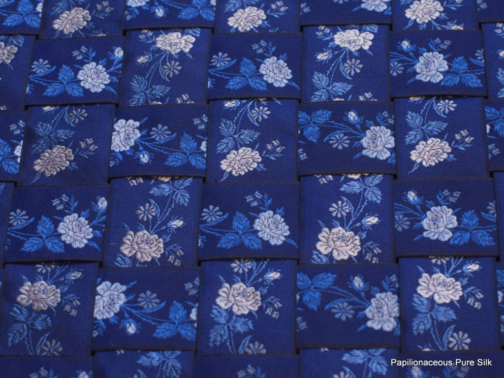 Blue Roses bookmark silk