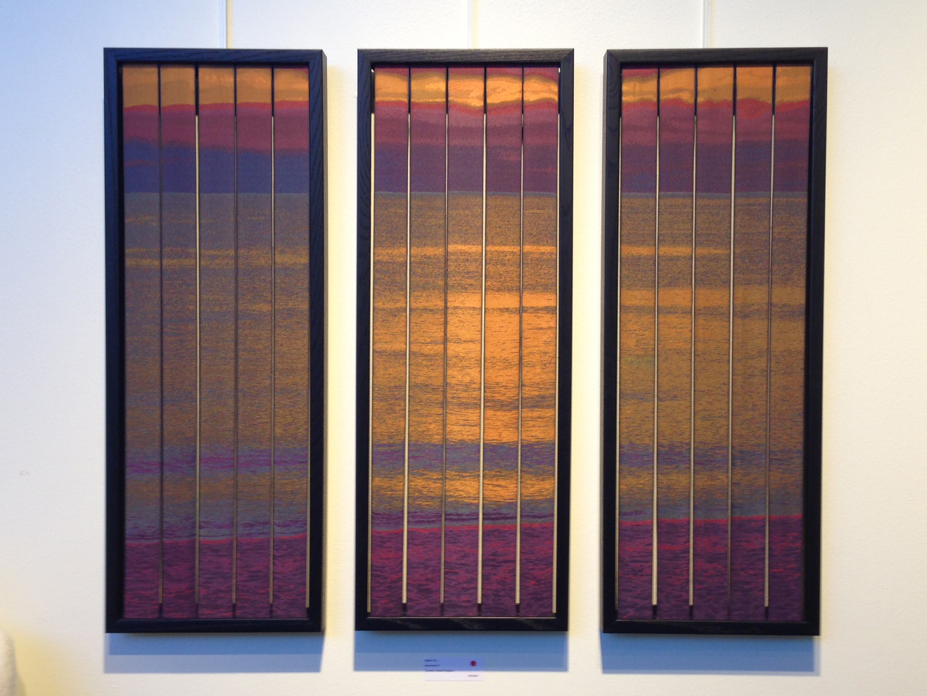 Interludes III jacquard woven silk triptych by Robert Ely on display at Complexity 2016