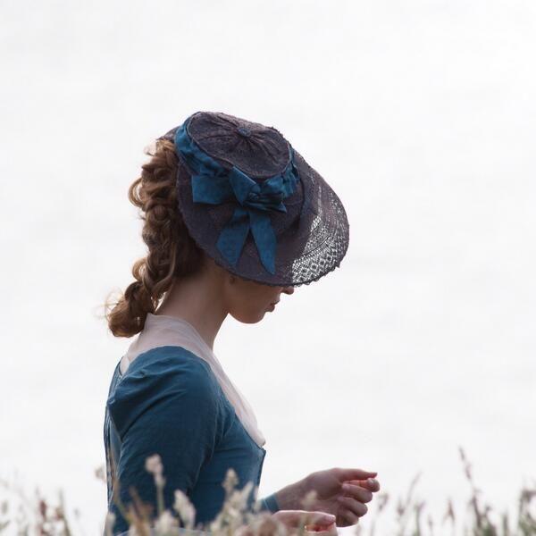 Elizabeth Poldark (Heida Reed) bonnet trimmed with Papilionaceous ribbon.