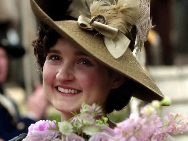 Poldark Season1, Verity (Ruth Bentall) in her wedding hat.