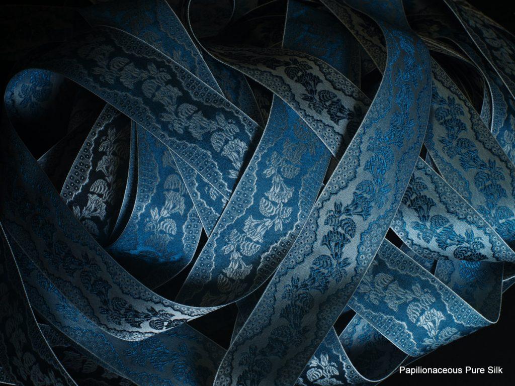 Papilionaceous silk ribbon used for Ross Poldark's braces in Poldark seasons 1 & 2.