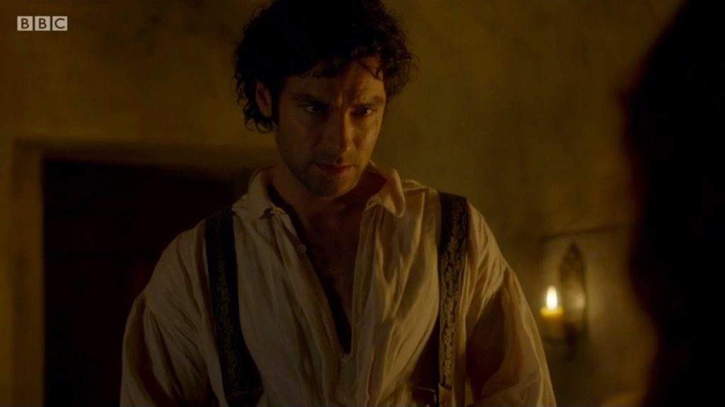 Captain Poldark, end of episode 2 wearing braces made from Papilionaceous silk ribbon woven in Devon