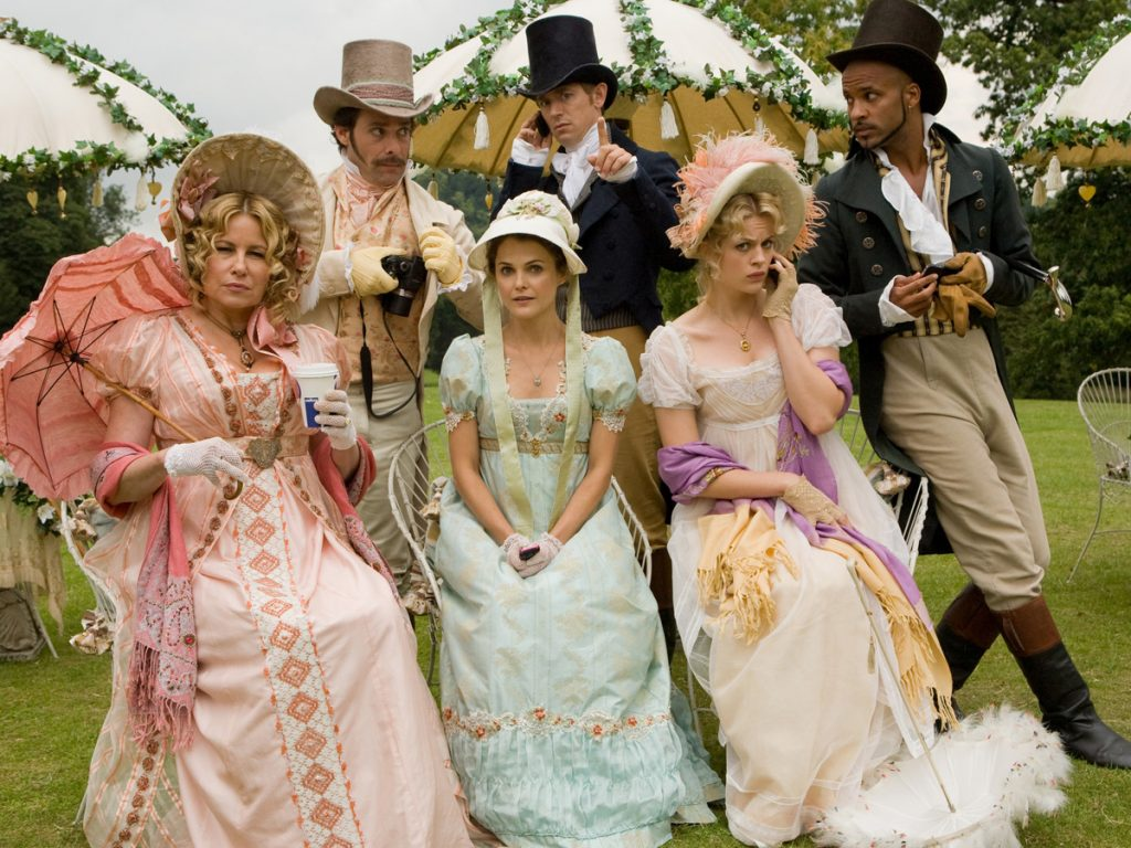 Cast of Austenland, 2013 featuring Papilionaceous silk ribbon.