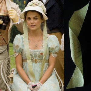 Austenland 2013, Jane Hayes (Keri Russell) wears bonnet trimmed with Papilionaceous jacquard silk ribbon