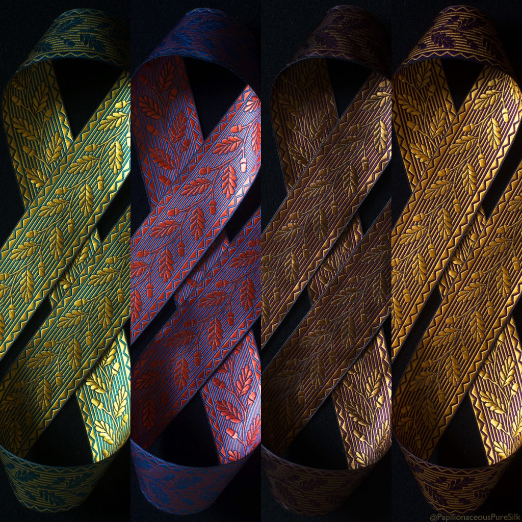 Acorn jacquard silk ribbons  in four colours available at papilionaceous.com