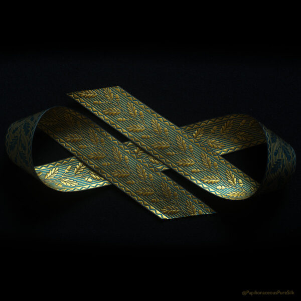 Acorn jacquard silk ribbon in wheat/teal