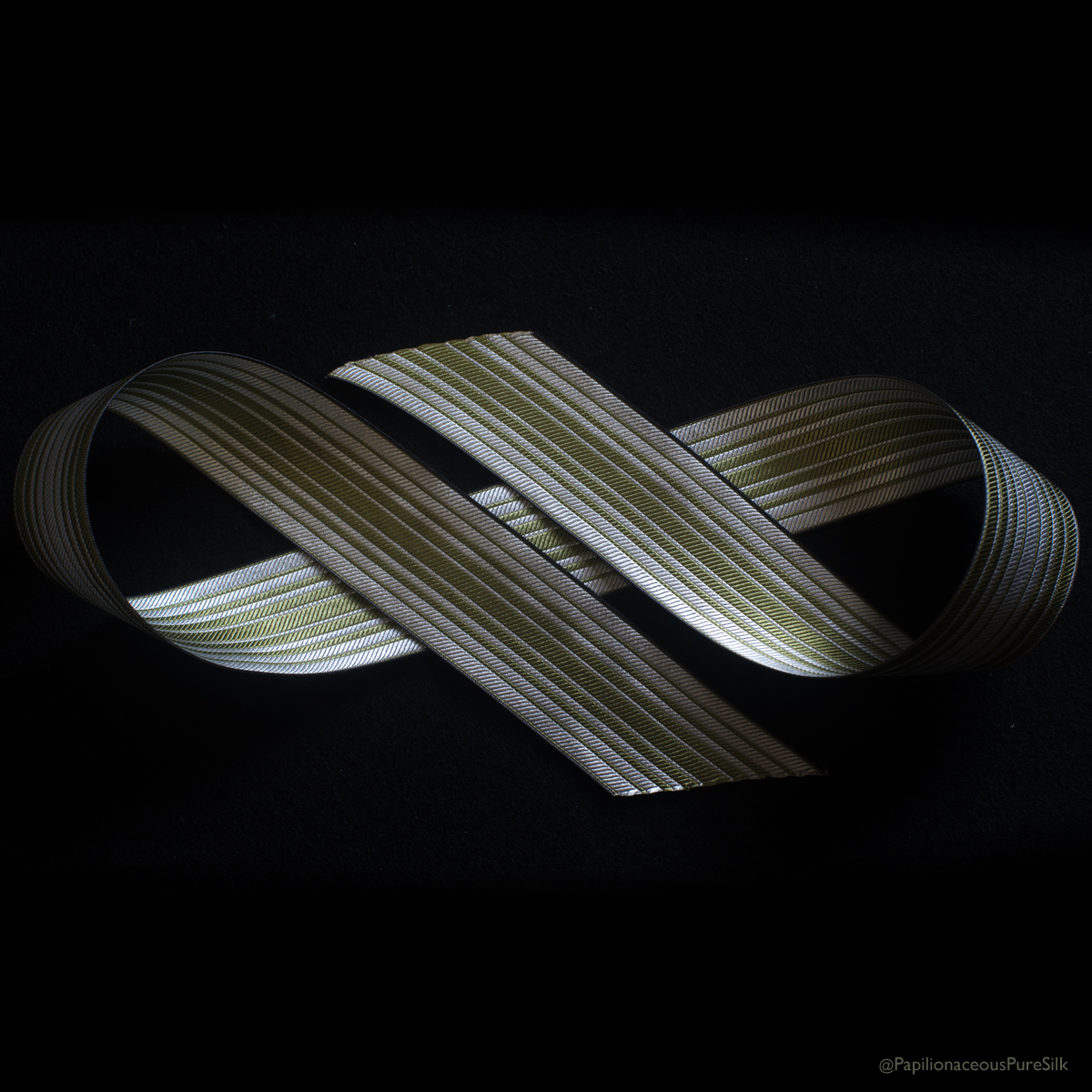 Ombre Stripe Silk Ribbon Greenery/Natural