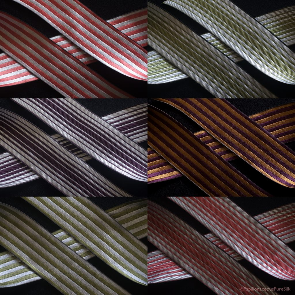 Papilionaceous striped silk ribbons available online now