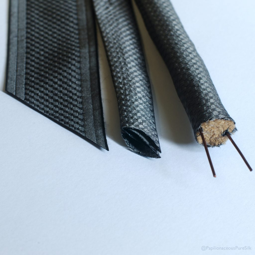 Custom woven speaker cable silk sleeving carbon fibre effect jacket