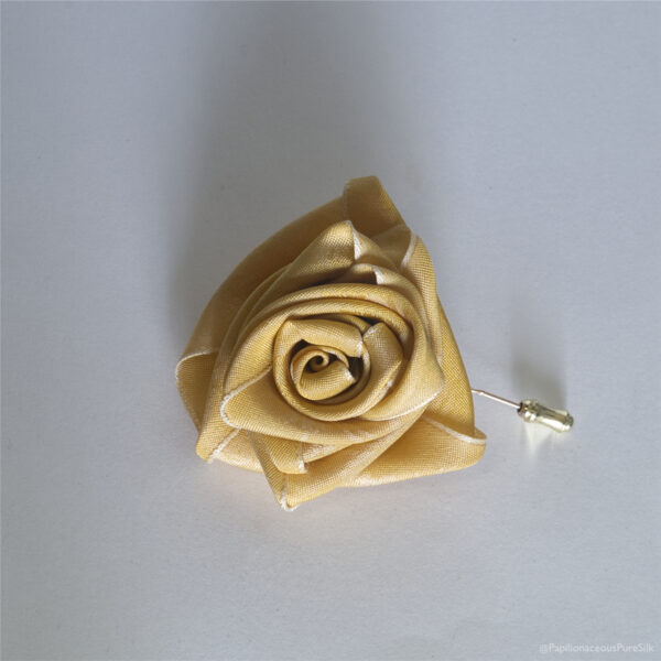 Silk Boutonnière Primrose Stick Pin made from Floral Papilionaceous Silk Ribbon.