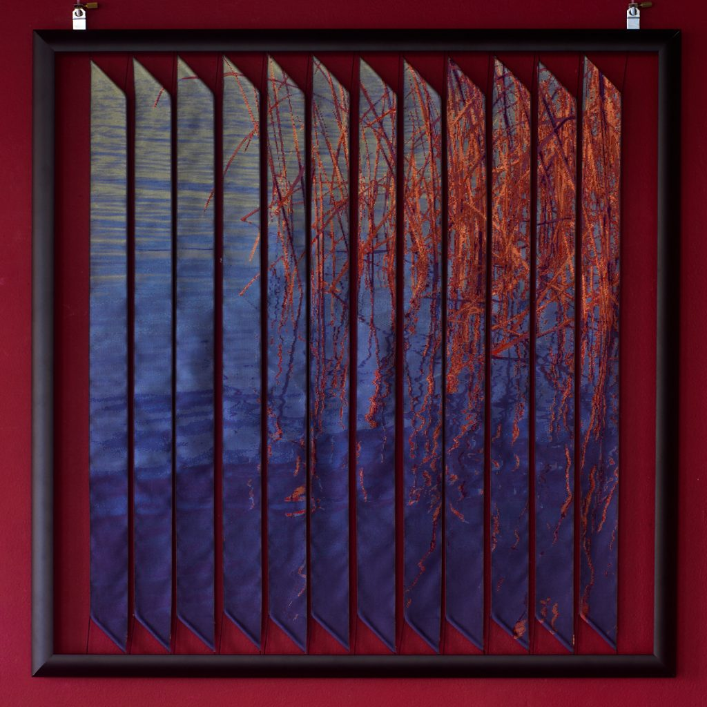 'Esme'. Woven silk ribbon panel by Robert Ely. 605 x 605mm including frames. Edition of 16. Reeds at Slapton Ley.