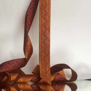 Acorn silk ribbon Saffron/Damson