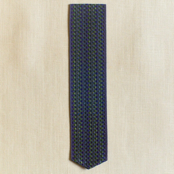 Basket weave Silk Bookmark, blue