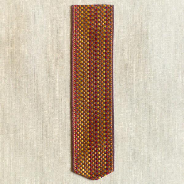 Basket weave Silk Bookmark, orange